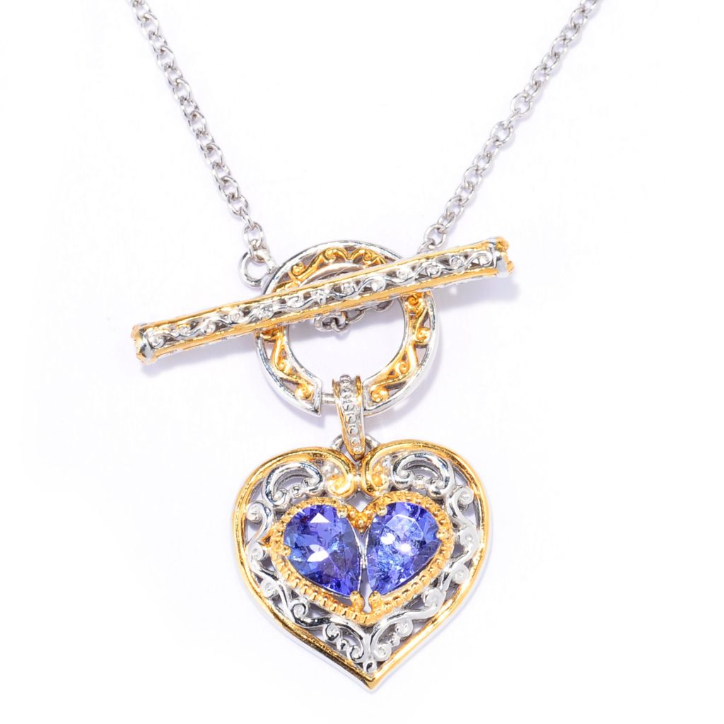 137-797 - Gems en Vogue II 1.44ctw Tanzanite & White Sapphire Heart Toggle Necklace