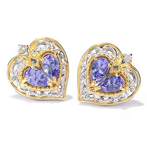 137-798 - Gems en Vogue Tanzanite & White Sapphire Heart Stud Earrings