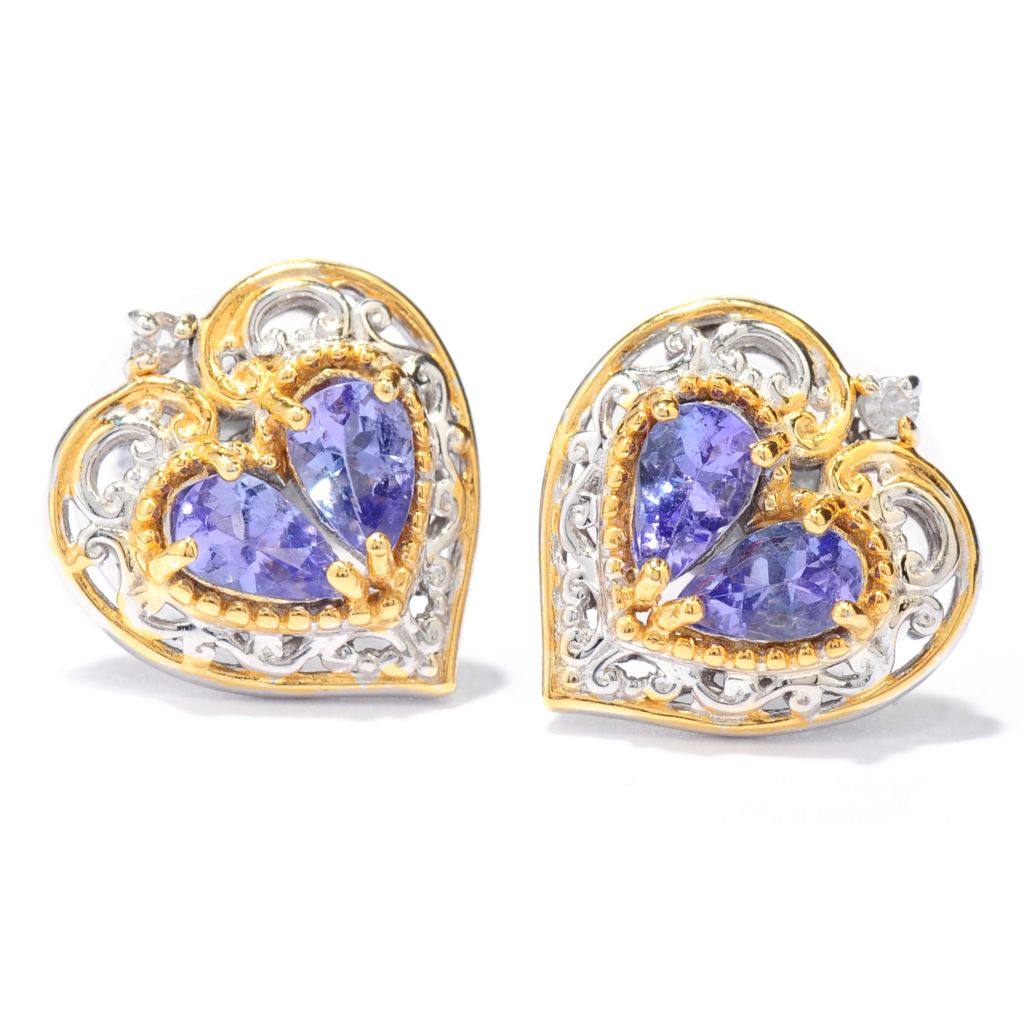 137-798 - Gems en Vogue Tanzanite & White Sapphire Heart Stud Earrings