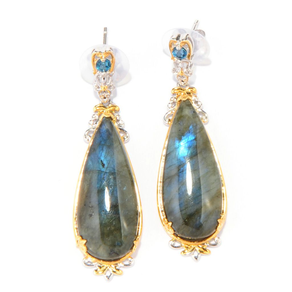 "137-799 - Gems en Vogue 1.75"" 28 x 12mm Labradorite & London Blue Topaz Teardrop Earrings"