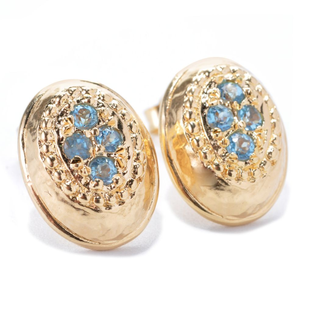 137-814 - Toscana Italiana 18K Gold Embraced™ Gemstone Hammered Oval Stud Earrings
