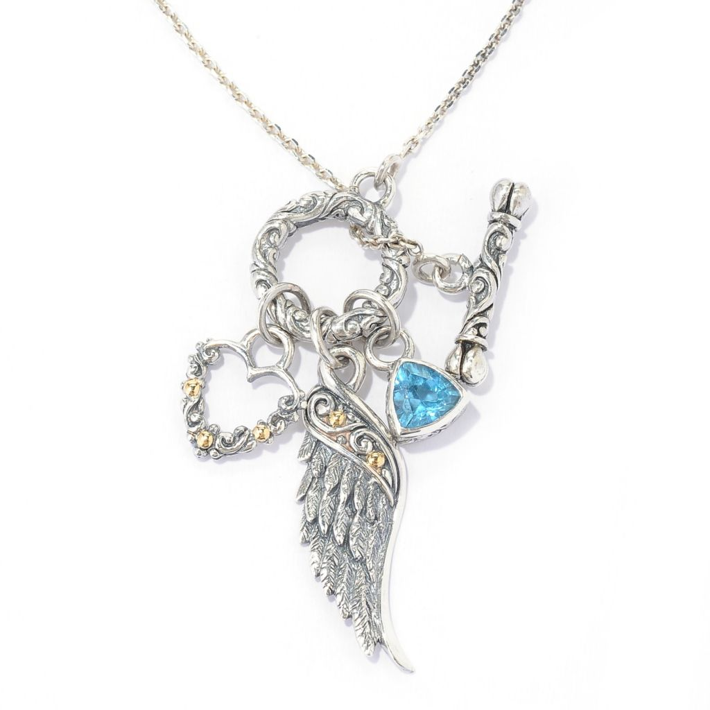 "137-826 - Artisan Silver by Samuel B. Two-tone 18"" 6mm Gemstone Wing & Heart Charm Toggle Necklace"