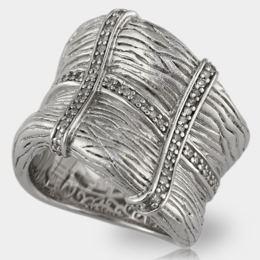137-845 - Balissima by Effy Sterling Silver 0.29ctw Diamond Textured Ring- Size 7