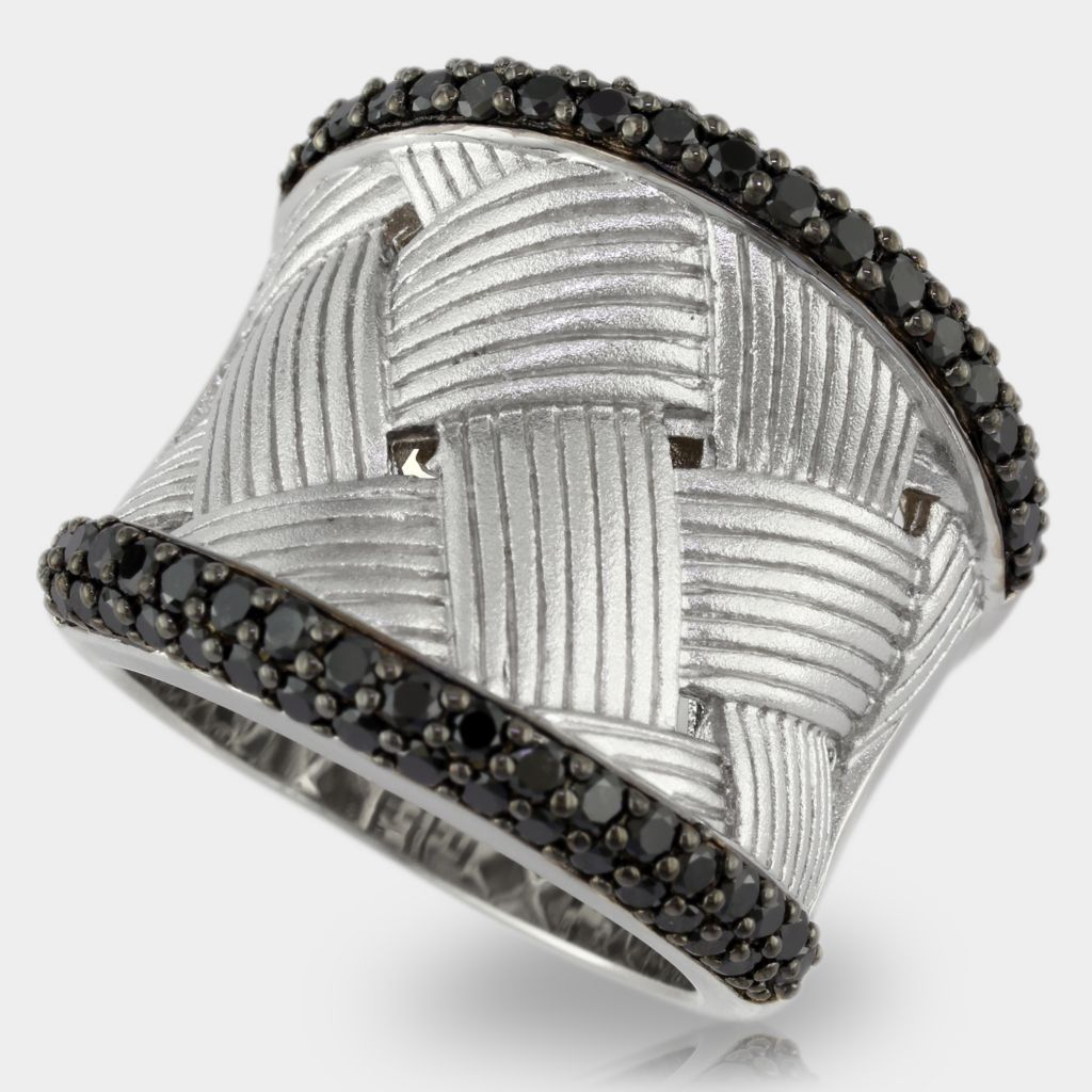 137-846 - Balissima by EFFY Sterling Silver 1.23ctw Black Diamond Woven Ring- Size 7