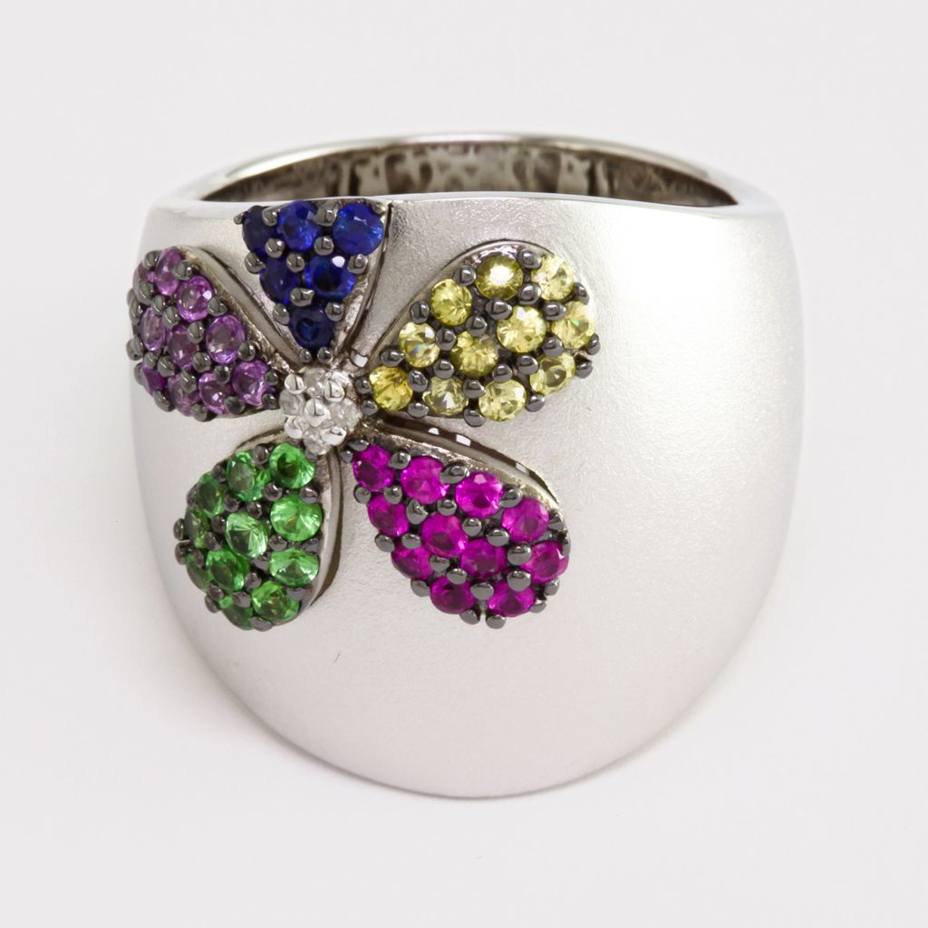 137-848 - Balissima by Effy Sterling Silver 1.28ctw Multi Gemstone & Diamond Flower Ring- Size 7