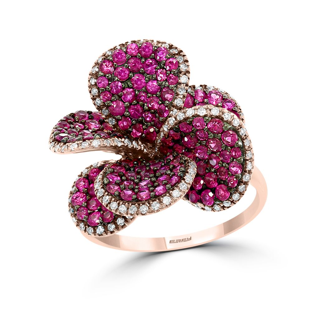 137-851 - Effy 14K Rose Gold 2.33ctw Ruby & Diamond Flower Ring- Size 7