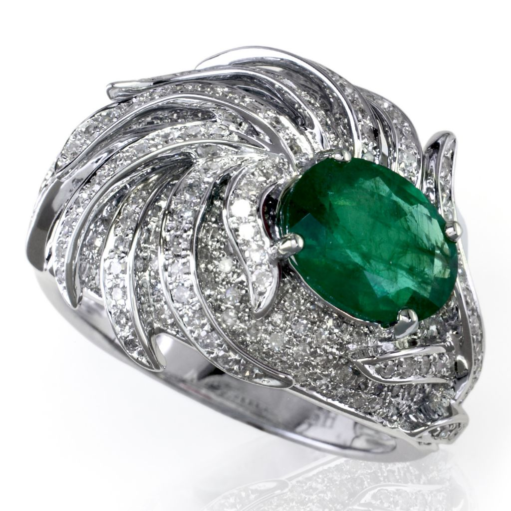 137-852 - EFFY 14K White Gold 2.37ctw Emerald & Diamond Ring