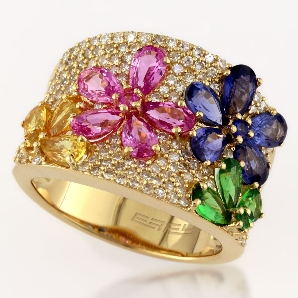 137-853 - Effy 14K Gold 5.56ctw Diamond & Gemstone Flower Ring - Size 7
