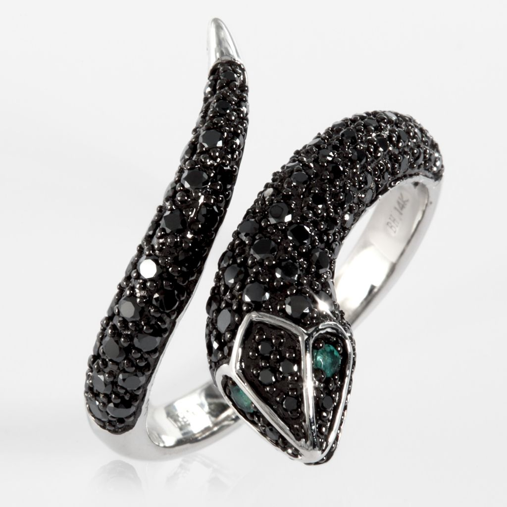 137-854 - Effy 14K White Gold 0.70ctw Black Diamond & Emerald Snake Ring - Size 7