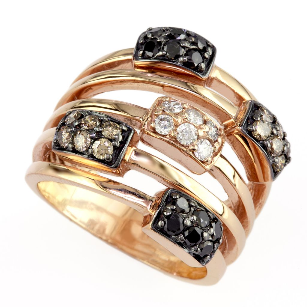 137-856 - Effy 14K Rose Gold 0.75ctw Black, Champagne & White Diamond Station Ring - Size 7