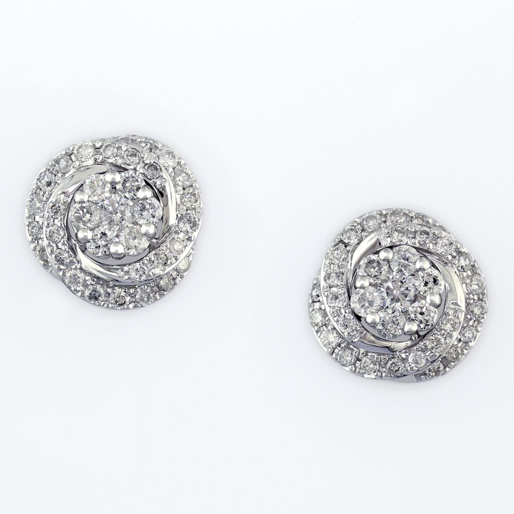 137-859 - Effy 14K White Gold 0.57ctw Diamond Flower Earrings