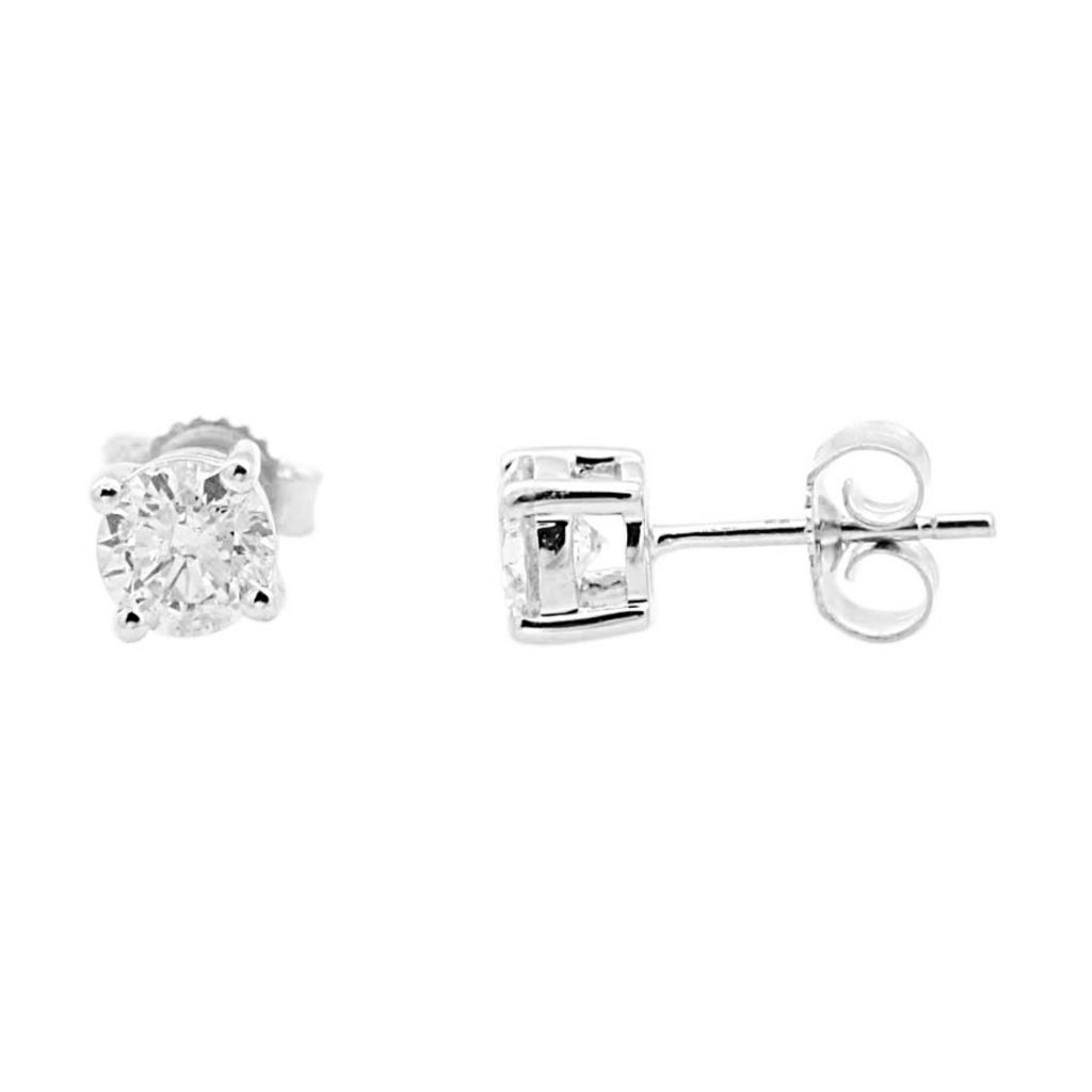 137-875 - 18K Gold 1.00ctw Round Diamond Stud Earrings