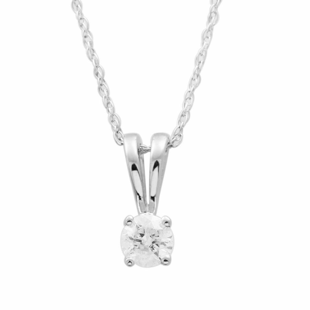 137-886 - 18K Gold 0.33ctw Diamond Solitaire Pendant w/ Chain