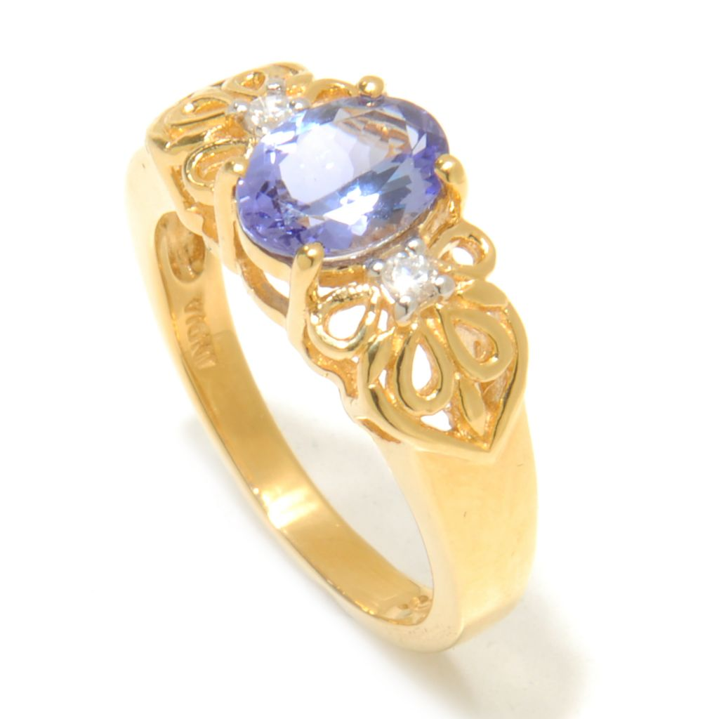 137-898 - NYC II 1.11ctw Oval Tanzanite & White Zircon Polished Band Ring