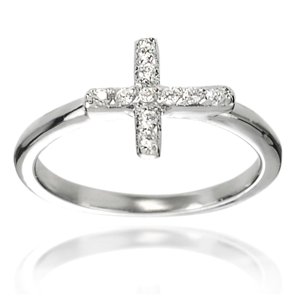 137-904 - Tressa Sterling Silver Simulated Diamond Cross Ring