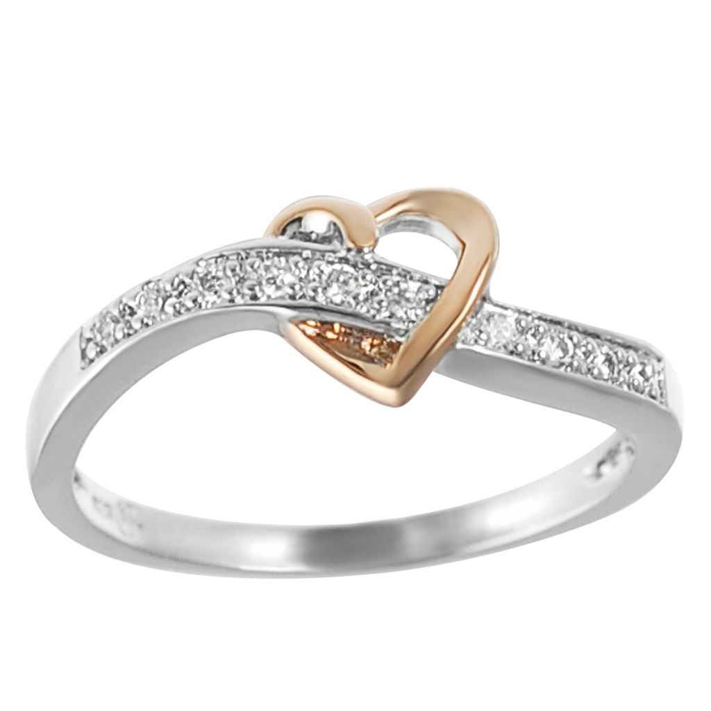 137-910 - Tressa Sterling Silver 14K Heart Detail Simulated Diamond Ring
