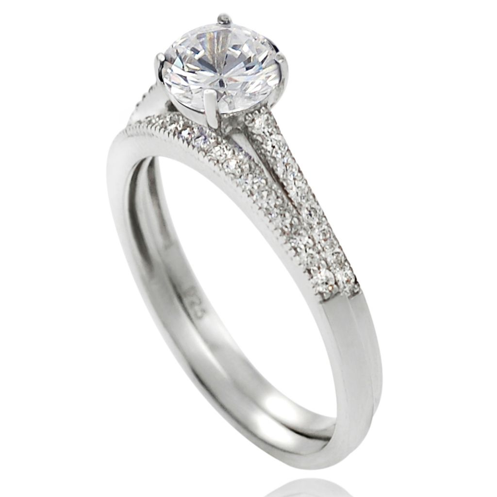 137-912 - Tressa Sterling Silver 1.16 DEW Simulated Diamond Bridal Style Ring Set