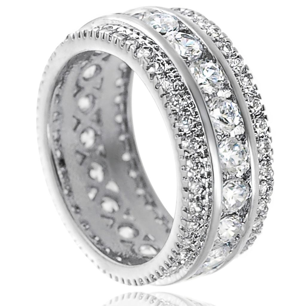 137-922 - Tressa Sterling Silver 5.4 DEW Simulated Diamond Bridal Style Channel Ring