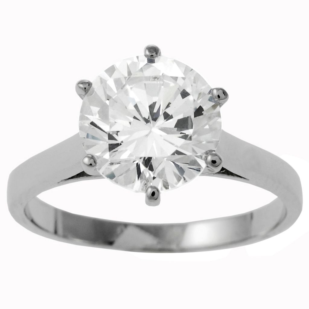 137-923 - Tressa Sterling Silver 2.75 DEW Solitaire Simulated Diamond Bridal Style Ring
