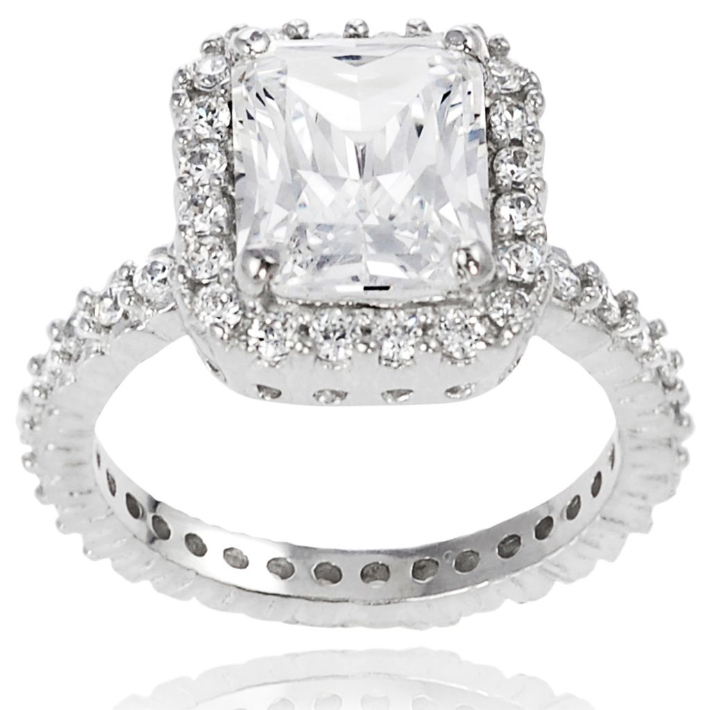 137-934 - Tressa Sterling Silver 4.48 DEW Square Cut Simulated Diamond Bridal Style Ring