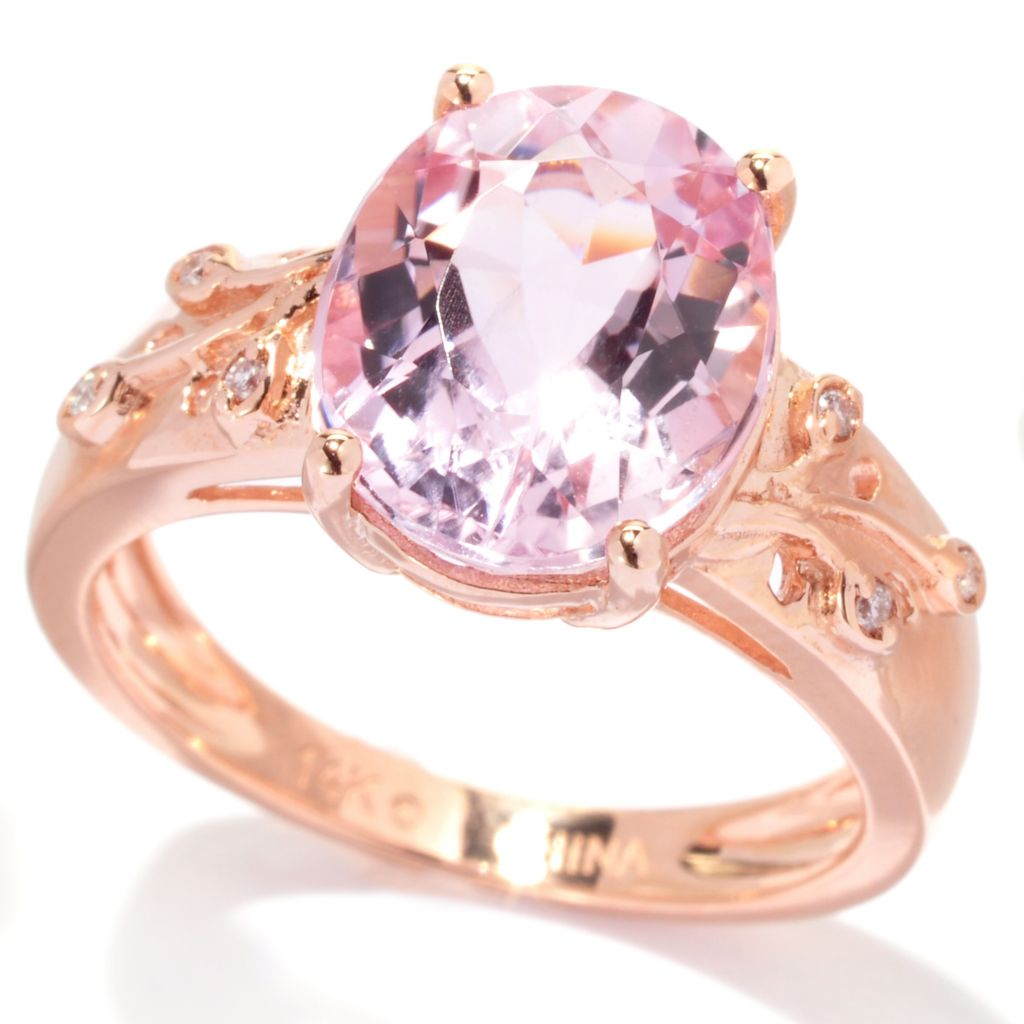 137-941 - Gem Treasures 14K Rose Gold 3.57ctw Oval Kunzite & Diamond Textured Vine Ring