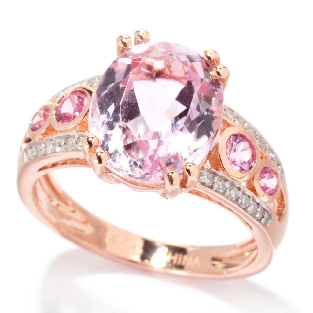 137-942 - Gem Treasures 14K Rose Gold 3.97ctw Kunzite, Pink Sapphire & Diamond Split Ring