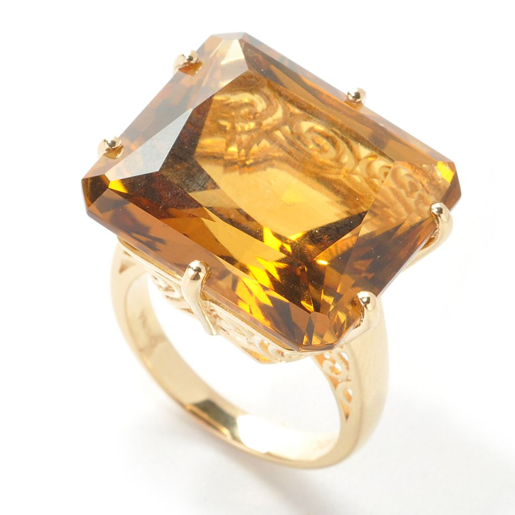 137-943 - NYC II 24.00ctw Radiant Cut Honey Citrine Ring
