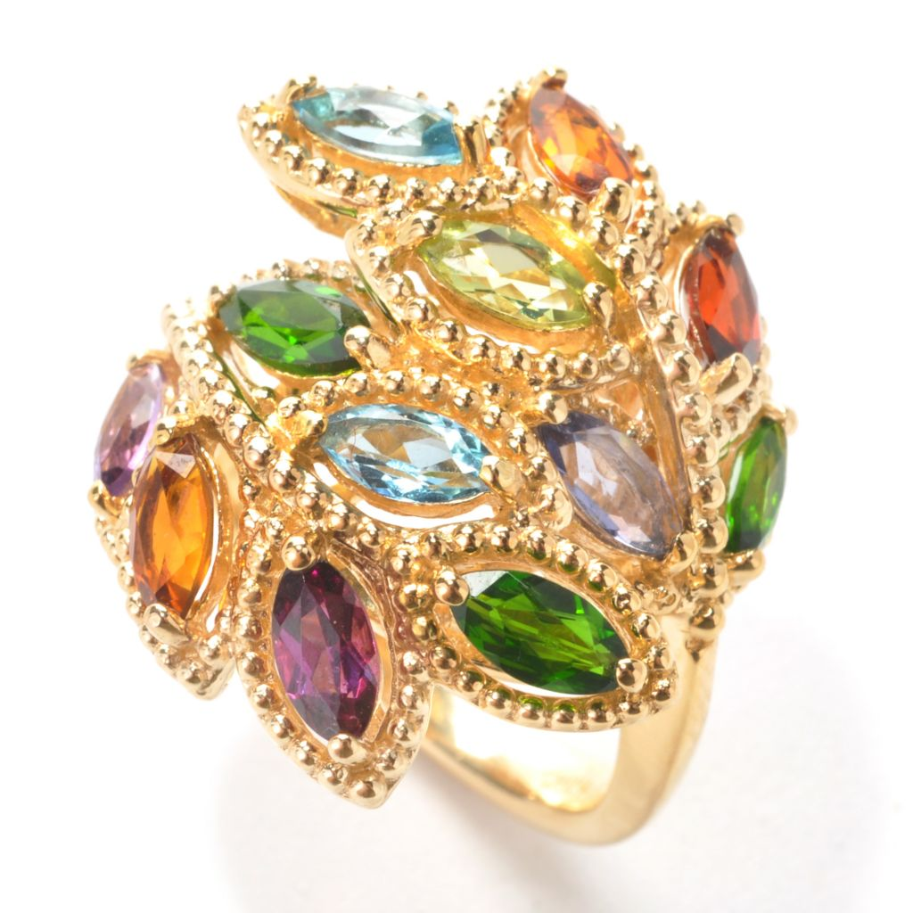 137-944 - NYC II 2.25ctw Marquise Shaped Multi Gemstone Vine Bypass Ring