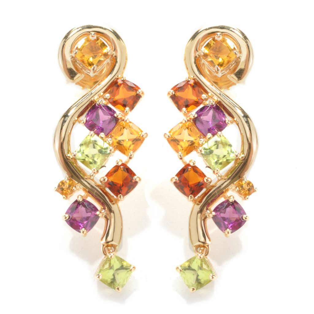 "137-945 - NYC II 1.25"" 4.14ctw Cushion Shaped Multi Gemstone Swirl Earrings"