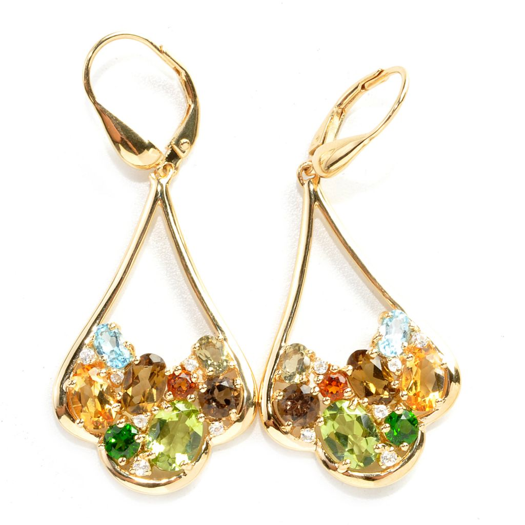 137-946 - NYC II 4.30ctw Oval & Round Multi Gemstone Dangle Earrings