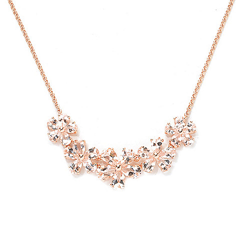 137-947 - NYC II™ 3.92ctw Pear Shaped Morganite Flower Necklace
