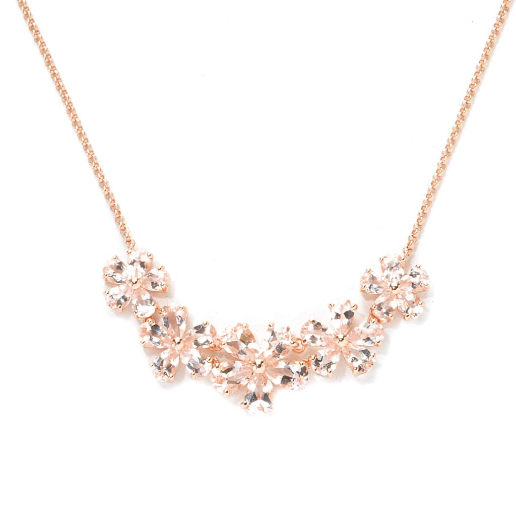 137-947 - NYC II 3.92ctw Pear Shaped Morganite Flower Necklace