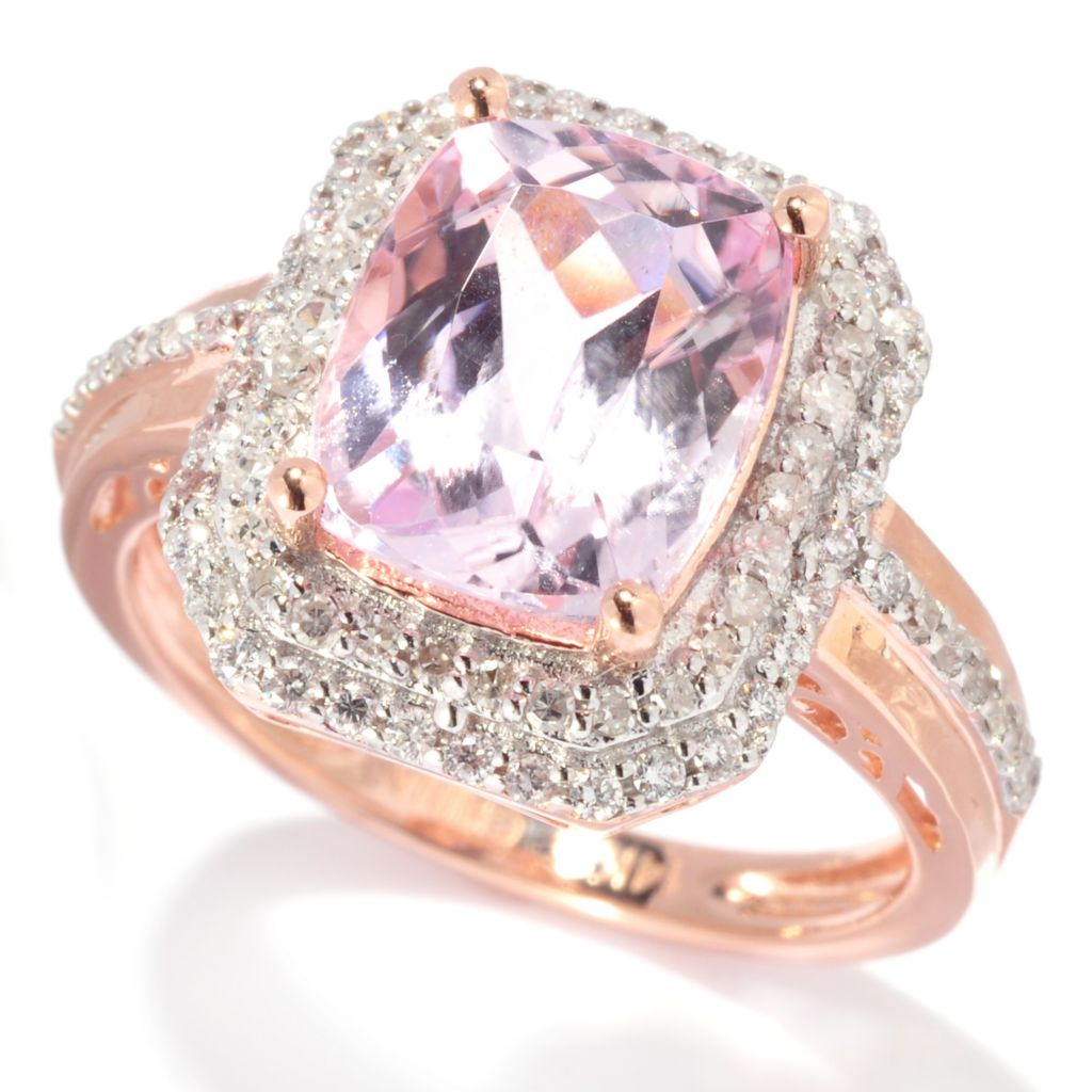 137-951 - Gem Treasures 14K Rose Gold 3.43ctw Kunzite & Diamond Double Halo Ring