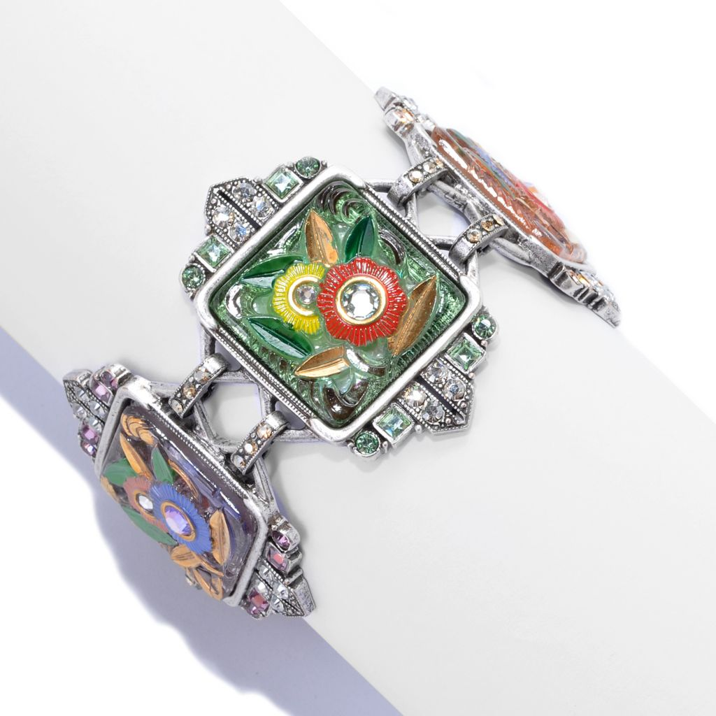 "137-955 - Sweet Romance™ 7.5"" Crystal & Enamel Floral Art Deco-Inspired Panel Bracelet"