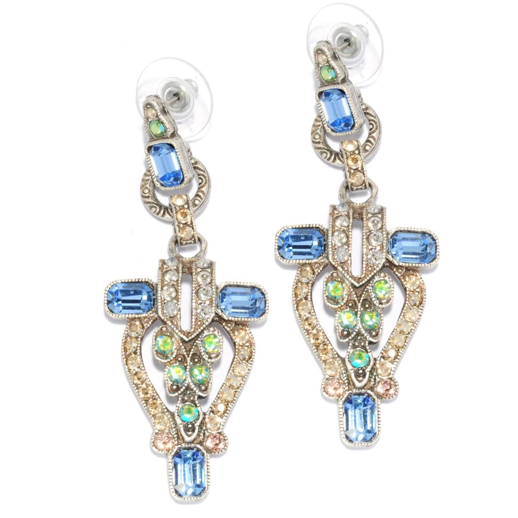 "137-956 - Sweet Romance™ 2.25"" Multi Color Crystal Vintage-Inspired Drop Earrings"