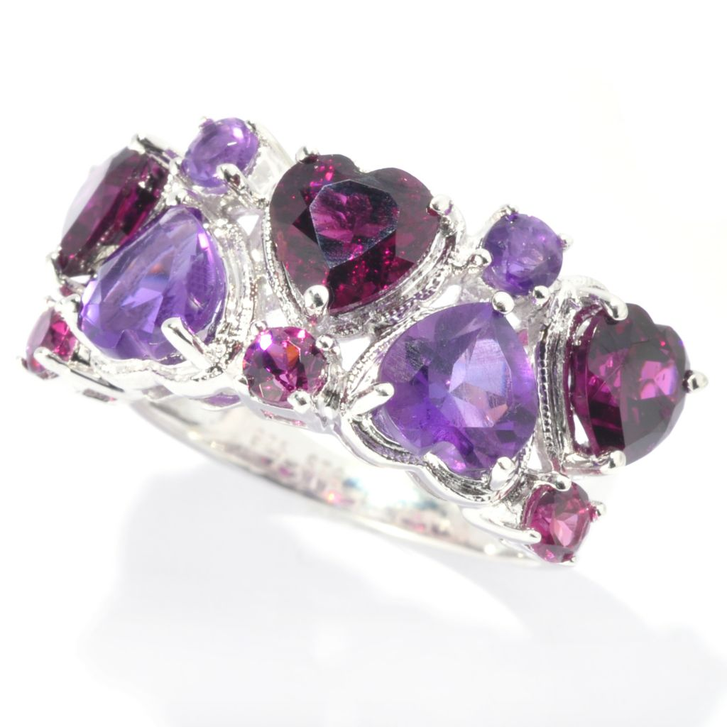 137-959 - NYC II 4.24ctw Alternating African Amethyst & Rhodolite Heart Band Ring