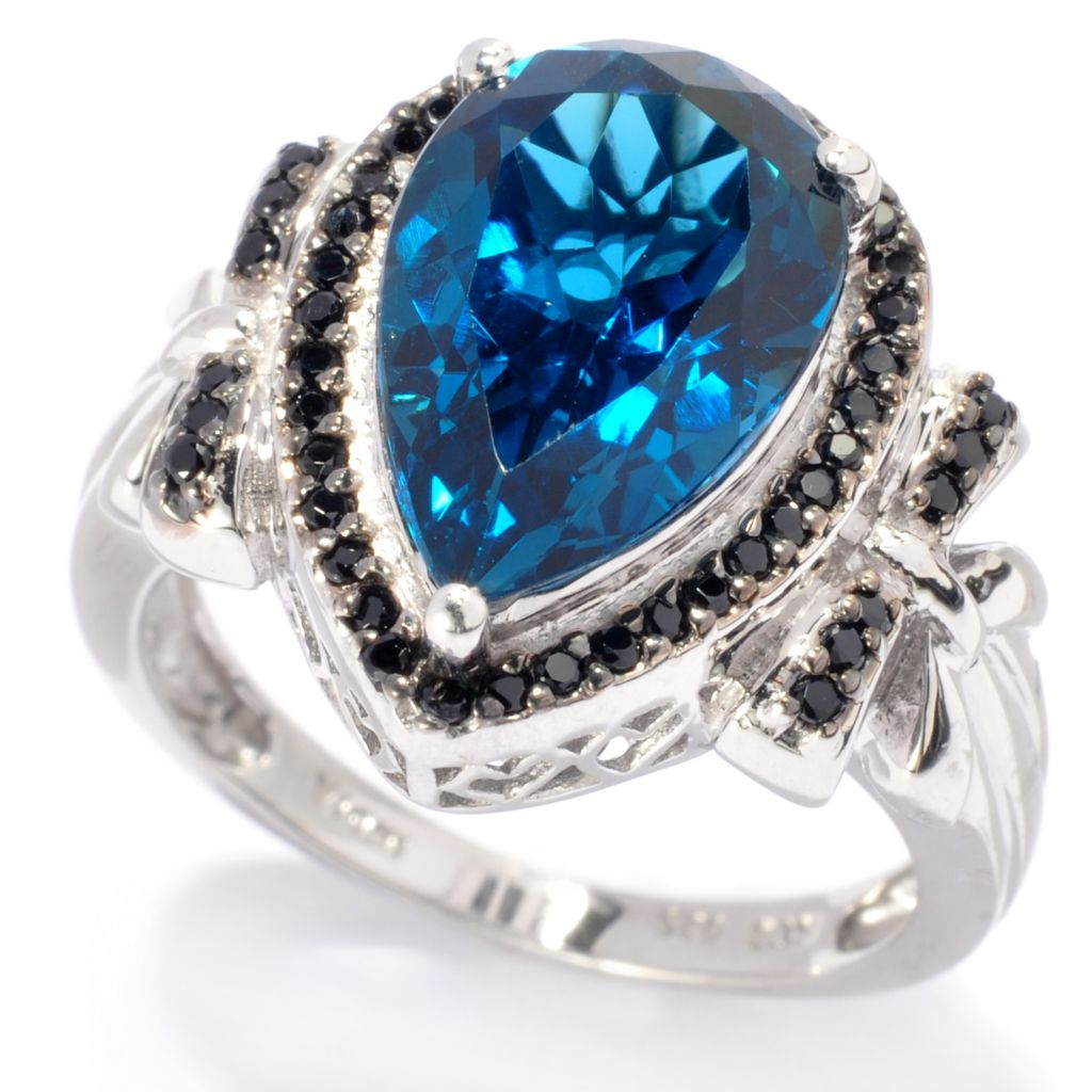 137-960 - NYC II 4.54ctw Pear Shaped London Blue Topaz & Black Spinel Bow Ring