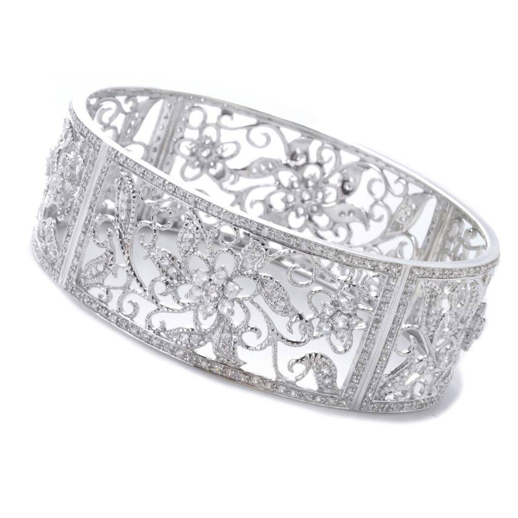 "137-961 - NYC II 8"" 7.35ctw Round White Zircon Flower Slip-on Bangle Bracelet"