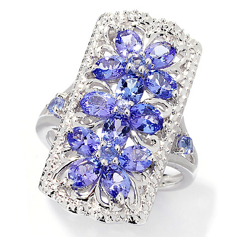 137-962 - NYC II™ 1.82ctw Tanzanite Flower Trio Elongated Ring
