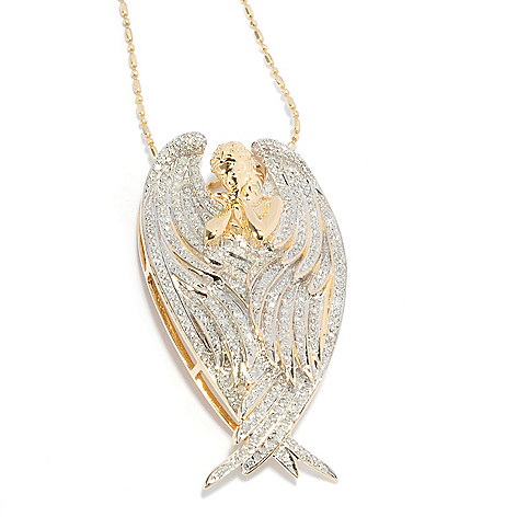 137-964 - Beverly Hills Elegance 14K Gold 1.00ctw Diamond Angel Pendant w/ 18'' Chain