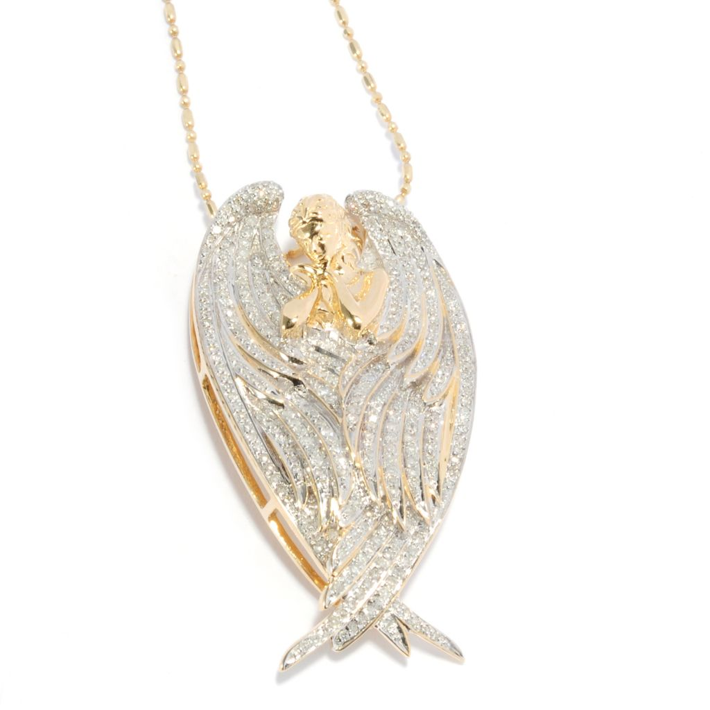 "137-964 - Beverly Hills Elegance 14K Gold 1.00ctw Diamond Angel Pendant w/ 18"" Chain"