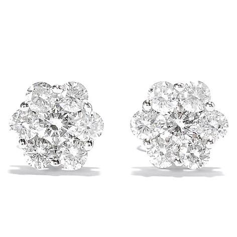 137-966 - Beverly Hills Elegance® 14K White Gold 0.95ctw Diamond Stud Earrings