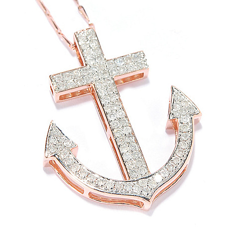 137-967 - Beverly Hills Elegance® 14K Gold 0.65ctw Diamond Anchor Pendant w/ 18'' Chain
