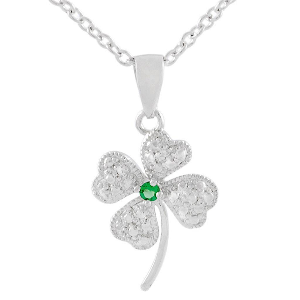 "137-969 - Tressa Sterling Silver Green Simulated Diamond Clover Pendant w/ 18"" Chain"