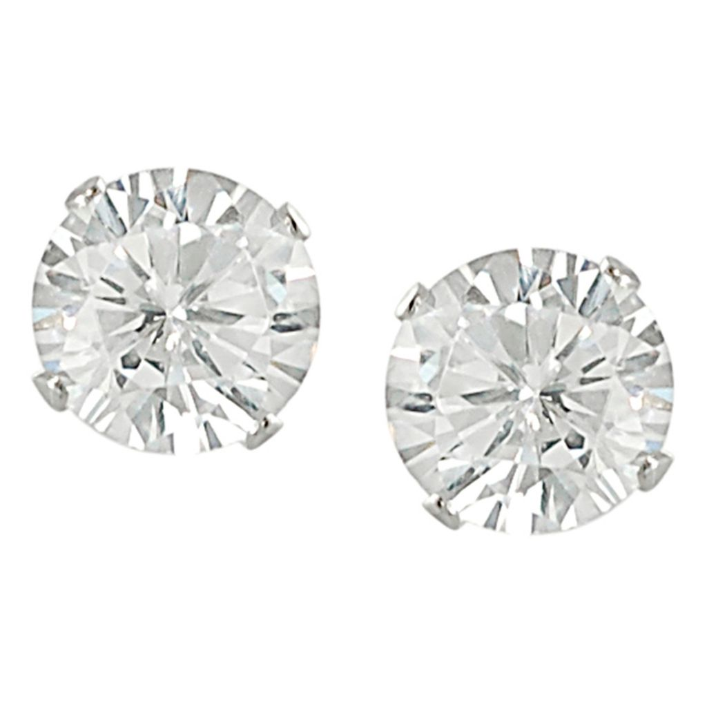 137-978 - Tressa Sterling Silver Round Cut Simulated Diamond Stud Earrings