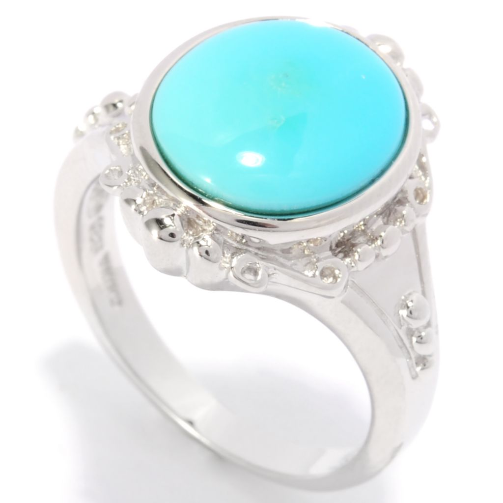 138-017 - Gem Insider Sterling Silver 12 x 10mm Sleeping Beauty Turquoise Bead Textured Ring