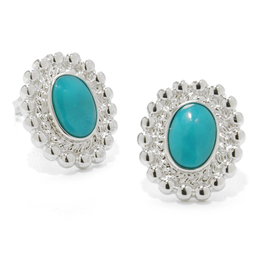 138-018 - Gem Insider Sterling Silver 7 x 5mm Sleeping Beauty Turquoise Textured Earrings