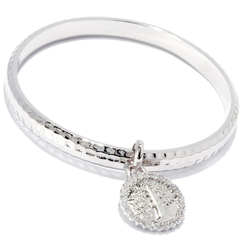 138-020 - Brilliante® Platinum Embraced™ Simulated Diamond Inspirational Charm Bangle