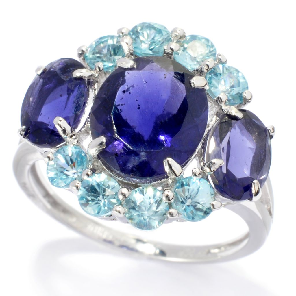 138-022 - Gem Treasures Sterling Silver 4.92ctw Iolite & Aqua Zircon Three-Stone Ring