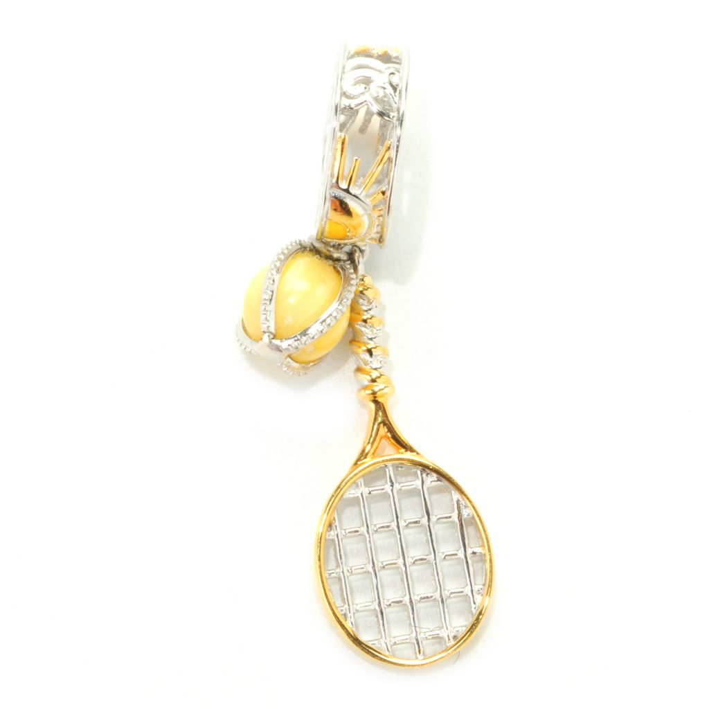 138-026 - Gems en Vogue Dyed Yellow Coral Tennis Ball & Racquet Drop Charm